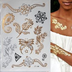 뜨거운 플래시 금속 방수 임시 문신 골드 실버 문신 여성 헤나 꽃 Taty 디자인 문신 스티커