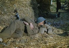 THE FIFTH ARMY IN THE GARIGLIANO RIVER VALLEY, ITALY, 19 JANUARY 1944. Lance Corporal A Durrent, of Bethnal Green, London, snatches a few moments sleep.