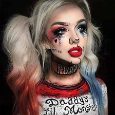 Are you looking for ideas for your Halloween make-up? Check out the post right here for cool Halloween makeup looks. Harley Quinn Halloween, Amazing Halloween Makeup, Halloween Makeup Looks, Halloween Costume Makeup, Amazing Halloween Costumes, Awesome Makeup, Zombie Costume Women, Cartoon Halloween Costumes, Costume Wigs
