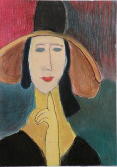 Klimt Woman in hat, pastelkrijt