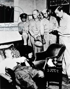 General Hideki Tojo, 1945 (b/w photo). General Hideki Tojo (1884-1948), general in the Imperial Japanese Army and 40th prime miniter of Japan; the image shows him slumped in a chair after attempting to shoot himself on 11th September; he was revived, tried, convicted of war crimes and hanged in 1948.