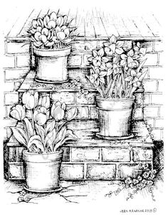 - - (notitle) coloring pages Adult Coloring Book Pages, Printable Adult Coloring Pages, Colouring Pages, Coloring Books, Flower Line Drawings, Pencil Art Drawings, Drawing Projects, Urban Sketching, World Of Color