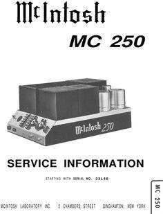 McIntosh MC-250 , Original Service manual PDF format suitable for Windows XP, Vista, 7 , DOWNLOAD