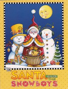 Amazon.com: Mary Engelbreit Christmas Cards Santa and the Snowboys (2 Sets of 6 Cards with Green Envelopes, Total of 12 Cards and Envelopes)...