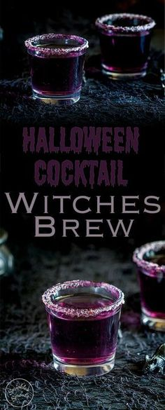 This 'Witches Brew'- halloween cocktail is so stunning. Based on a Purple Hooter, the vivid colour is dramatically beautiful, but with a dark eerie feel perfect for a halloween party. Recipe from Sprinkles and Sprouts Delicious food and drink for easy e Halloween Snacks, Cocktails Halloween, Soirée Halloween, Hallowen Food, Halloween Cupcakes, Holiday Drinks, Halloween Shots, Adult Halloween Drinks, Halloween Decorations