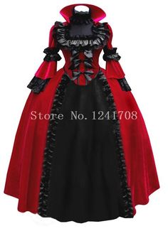 Rode/blauw victorian corset gothic jurk burgeroorlog baljurk middeleeuwse kostuum €121,18
