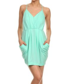 Loving this Mint Pleated V-Neck Dress on #zulily! #zulilyfinds
