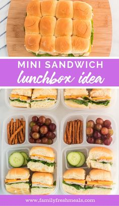 Mini Sandwich Lunchbox Idea Family Fresh Meals: All Lunch To Go, Lunch Meal Prep, Healthy Meal Prep, Healthy Snacks, Lunch Box Recipes, Lunch Snacks, Kid Snacks, Work Meals, Kids Meals