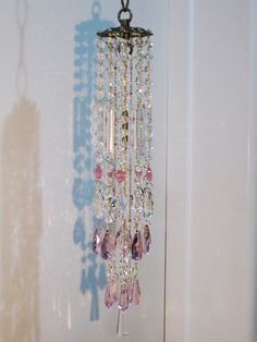 Pink champagne on ice. by Leah. Sold. Crystal wind chime sun catcher.