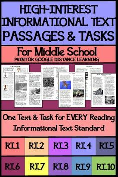 """A high-interest 1-page passage paired with a high-interest, meaningful 1-page task for EVERY """"Reading Informational Text"""" Standard and several """"Reading in Science/Tech"""" and """"Reading in History/Soc Stud"""" and """"Language"""" State Standards. Middle school studen"""