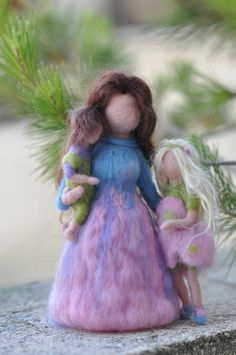 Needle felted Waldorf-Mother  and two children- standing doll-soft sculpture--needle felt by Daria Lvovsky-Made to order. $88.00, via Etsy.