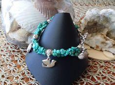 Turquoise Multistrand Faith Hope and Love Charm Bracelet