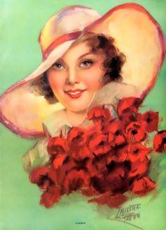 Cherie by Laurette Patten Pin Up Illustration, Illustration Artists, Feminine Mystique, Artists And Models, Pin Up Art, Southern Belle, Art Market, Woman Face, Vintage Prints