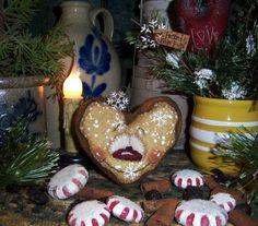 Primitive Patti's Ratties Snowflake Gingerbread Cookie Heart Snowman Bear Doll