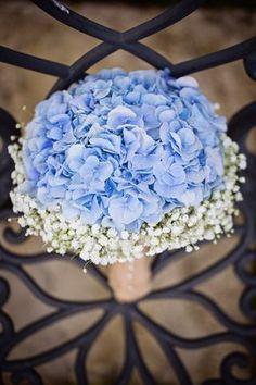 Baby Blue Hydrangea & white Gypsophila (babys breath) I think I just found my perfect bouquet