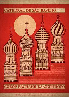 illustration russe : affiche, cathédrale St Basile, Moscou, rouge, architecture religieuse