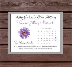 100 Lavender Purple Daisy Save the Date by creatingapapermemory, $32.00  Color and flower can be Changed