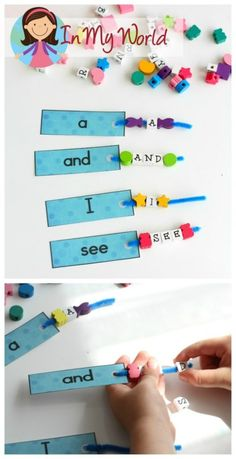 Sight Words and Word Families FREE Pre-Primer Sight Words build a word activity with letter beads Teaching Sight Words, Sight Word Practice, Sight Word Games, Sight Word Activities, Literacy Activities, Sight Word Wall, Sight Word Spelling, Preschool Literacy, Early Literacy