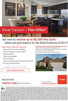 New Homes for Sale in San Antonio, Texas  New Phase Now Pre-selling at Silver Canyon!  Get $8,500 Flex Cash - Act Now!  https://centex.com/homes/texas/the-san-antonio-area/helotes/silver-canyon-50480