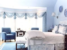 Light Blue Bedroom Color Theme Ideas For Teenage Girls With Decorative  Curtains