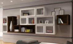 Conjunto para Sala de Estar com Cubos Decorativos Tabaco/Branco/Decapê - BRV Móveis