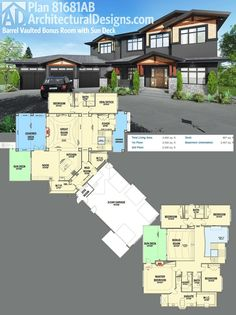 Architectural Designs House Plan 81681AB. The second floor has a dramatic bonus room above the great room with a massive open air sun deck. Ready when you are. Where do YOU want to build? Specs-at-a-glance 5 beds 4 baths 4,600+ square feet.