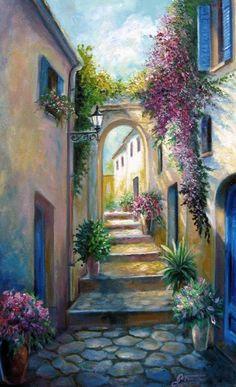 Love the scenery Landscape Art, Landscape Paintings, Pintura Graffiti, Beautiful Paintings, Love Art, Painting Inspiration, Art Pictures, Amazing Art, Watercolor Paintings