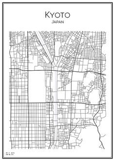 Kyotp. Japan. Map. City print. Print. Affisch. Tavla. Tryck. Stadskarta.