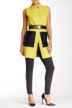 Faux Leather Trim Wool Blend Longline Vest by Gracia