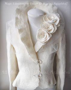 Bridal Jacket Felted  Ivory Long Sleeves /SPLENDOUR/ by TianaCHE, $470.00