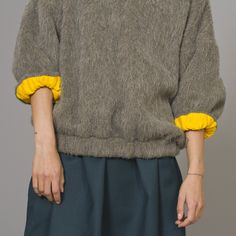 Kenzo Wool sweater | Yellow contrast turn back cuffs