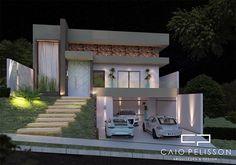 projeto casa arquitetura moderna terreno 12x25 130 metros 03 suítes aclive fundo desnível lateral