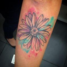 24 best ideas for tattoo dog flower colour Daisy Tattoo Designs, Daisy Flower Tattoos, Flower Tattoo On Side, Flower Tattoo Shoulder, Tattoo Flowers, Sunflower Tattoos, Hair Tattoos, Time Tattoos, Dog Tattoos