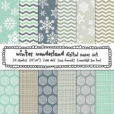 Winter Patterns Digital Paper, Snowflakes Blue and Gray Digital Backgrounds Holiday Photography, Digital Backgrounds, Paper Snowflakes, Binder Covers, Graphic Patterns, Digital Scrapbooking, Digital Papers, Pattern Paper, Planner Stickers