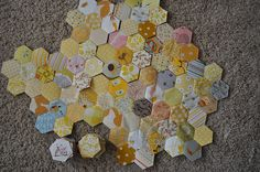 yellow hexagon quilt progress, via Flickr.