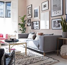 Artemis Lin Design - Contemporary living room with blush pink walls, grey sofa couch, gallery wall, black accents, youthful boho rocker vibe, and fiddle leaf fig.