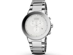 A sleek and refined watch. White dial on a stainless steel bracelet with stainless steel accents. Edge-to-edge glass for an intriguing look.