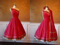 1950s Dress - Vintage 50s Dress - Red Silk Sari Couture One Shoulder Wedding Cocktail Party Dress S - Aurelia