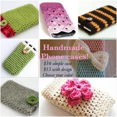 Handmade iPhone cases! Or any other phone!  Handmade iPhone cases, can also be done for other phones as long as I know the size and/model of phone. U can choose the color u want. Price is $10 for simple ones(one color) and $15 for ones with design, different colors, buttons or depending on what you prefer. Plz ask me to make u a separate listing to purchase tywill be shipped the next day! Handmade Accessories