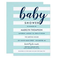 Aqua Stripes | Navy Baby Boy Shower Invitation Custom order #silver #wedding #invitations Make your day special with these #Elegant #weddinginvitations #party #cards #simple #weddingstationary
