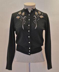 50s Black Beaded Cardigan
