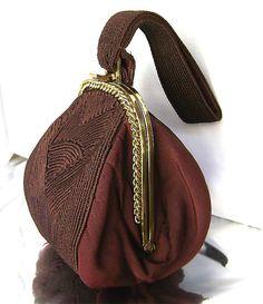 Art Deco Brown Wristlet Purse Brass Chain Frame Jemco USA 1940 's Vintage Corde Style Chocolate Brown Satin Silk Evening Handbag