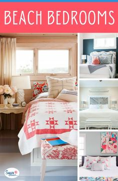Beach Themed Bedrooms Ideas: Beach house bedrooms from our amazing beach house tours, as well as beach bedroom decor inspiration with an assortment of Beach Theme Bedding, Beach Bedroom Decor, Beach House Bedroom, Bedroom Themes, Beach House Decor, Home Bedroom, Bedrooms, Coastal Bedding, Bedroom Ideas