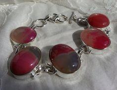 Beautiful Pink Agate Gemstone Sterling Silver by LoveByNina