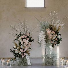 There is so much to love of this ceremony look. Lush lux floral, romantic candlelight and a beautiful space. Styled and flowerd by… Wedding Table Centres, Wedding Ceremony Decorations, Ceremony Backdrop, Luxe Wedding, Floral Wedding, Wedding Flowers, Wedding Details, Wedding Gowns, Floral Centerpieces