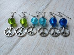 Peace Sign Earrings with Blue or Green Glass by BeachDaisyJewelry, $7.00