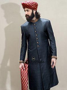 Munib Nawaz Sherwani Suits   Dashing black sherwani for men