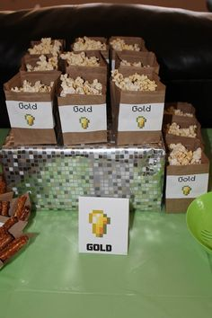 Minecraft party ideas. Popcorn for Gold.