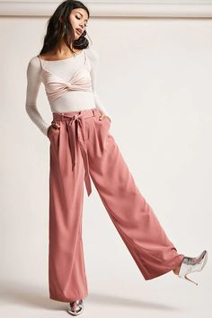Product Name:Belted High-Waist Palazzo Pants, Category:CLEARANCE_ZERO, Price:48