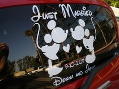 Disney car decal my sweet husband made for our wedding day and honeymoon trip to Disneyland